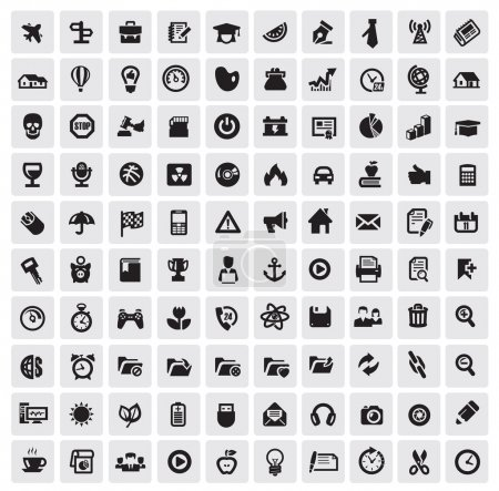 Illustration for Vector black 100 web icons set on gray - Royalty Free Image