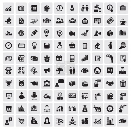 Illustration for Vector black 100 business web icons set on gray - Royalty Free Image