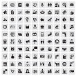 Vector black 100 business web icons set on gray...