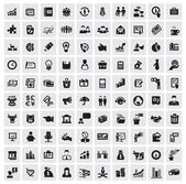 Vector black 100 business web icons set on gray