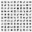 Vector black music icons set on gray...