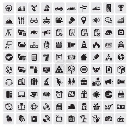 Illustration pour Vector set sur gris d'icônes web 100 noir - image libre de droit