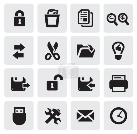 Illustration pour Icônes web vectoriel noir mis sur gris - image libre de droit