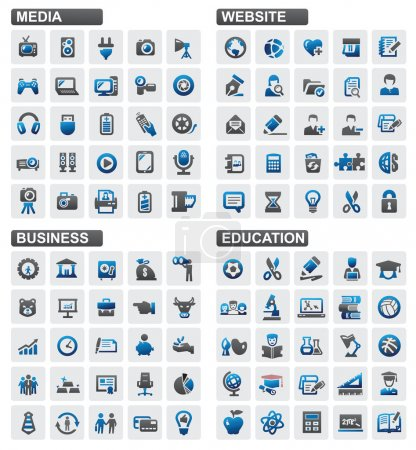 Illustration for Vector business education website media icons set - Royalty Free Image