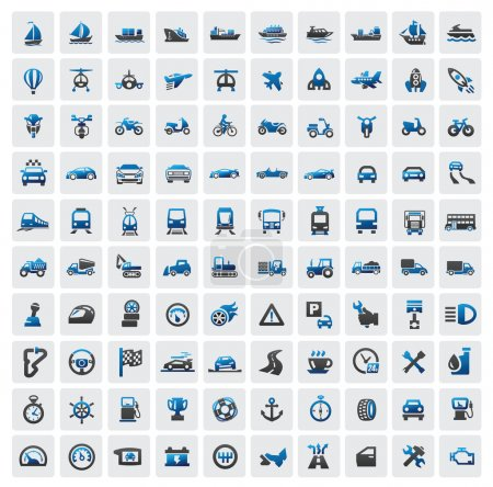 Photo for Vector color big transportation icon set on gray - Royalty Free Image