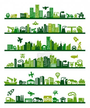 Illustration for Vector green city icons set on gray - Royalty Free Image