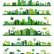 Vector green city icons set on gray...