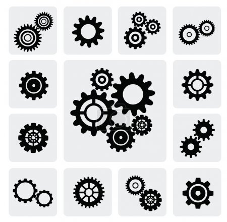 Illustration for Vector black gearwheel mechanism icon set on gray - Royalty Free Image