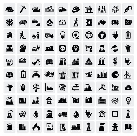 Illustration for Vector black industry icons set on gray - Royalty Free Image