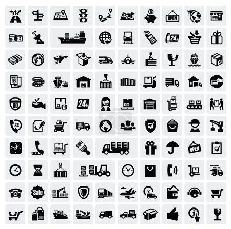 Foto de Vector black logistic and shipping icon set - Imagen libre de derechos