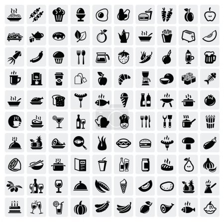 Photo for Vector black food icons set on gray - Royalty Free Image
