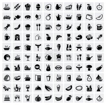 Photo pour Vector noir nourriture icônes définies sur gris - image libre de droit