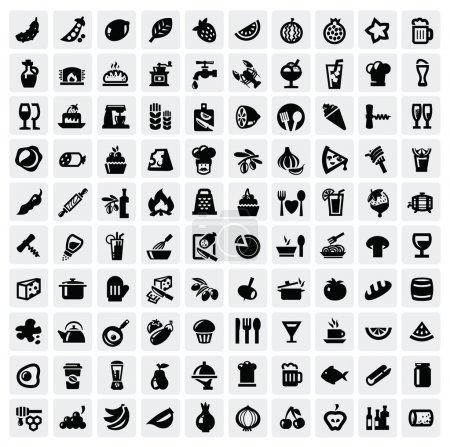 Illustration pour Icônes alimentaires vectorielles noires fixées sur gris - image libre de droit
