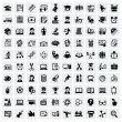 Vector black education icons set on gray...