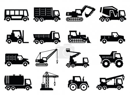 Illustration for Vector construction transport icons set on gray - Royalty Free Image