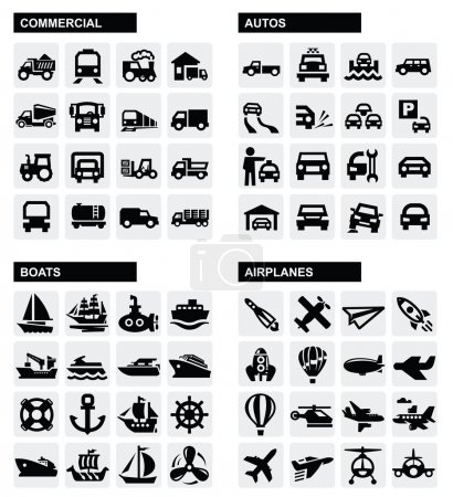 Photo for Vector black transport icons set on gray - Royalty Free Image