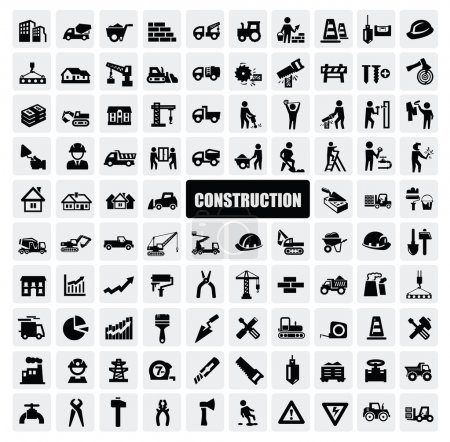 Photo for Vector black construction icon set on gray - Royalty Free Image