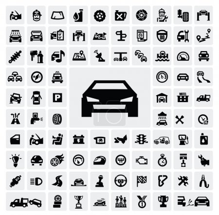 Illustration for Vector black auto icons set on gray - Royalty Free Image