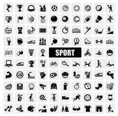 Vector black sports icons set on gray