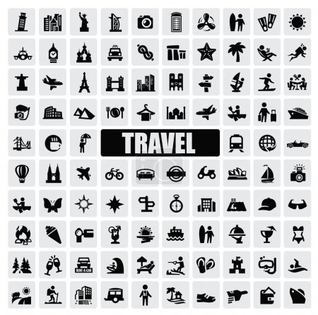 Illustration for Vector black travel and landmarks icons set - Royalty Free Image