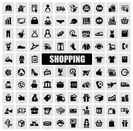 Illustration for Vector black shopping icons on gray background - Royalty Free Image