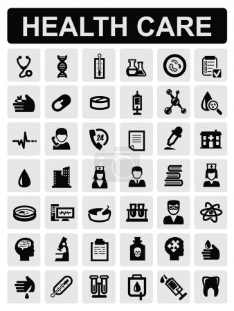 Photo for Vector black medical icons set on gray - Royalty Free Image