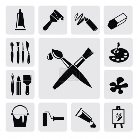 Photo for Vector black art icons set on gray - Royalty Free Image