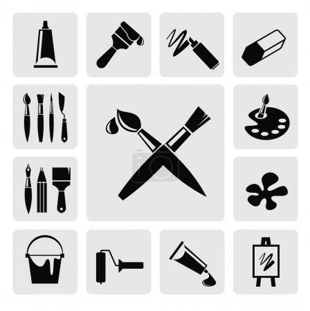 Photo pour Icônes black art vectoriel défini sur gris - image libre de droit