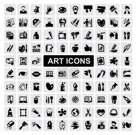 Foto de Vector black art icons set on gray - Imagen libre de derechos