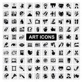 Vector black art icons set on gray