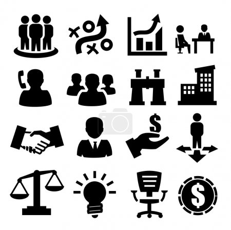 Photo for Vector black business icons set on gray - Royalty Free Image