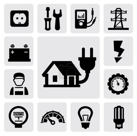 Illustration for Vector black electricity icons set on gray - Royalty Free Image