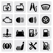 Vector dashboard and auto icon set on gray