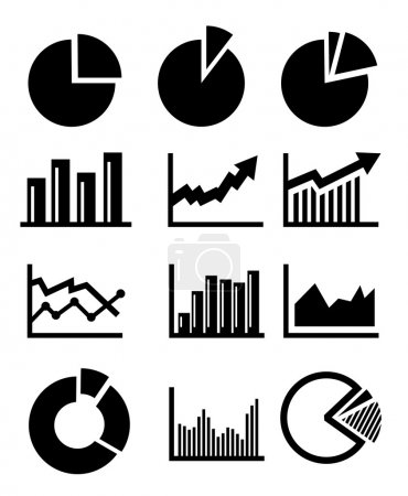 Illustration for Vector charts and graphs collection icons set - Royalty Free Image