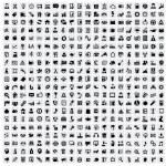Vector black 400 universal web icons set on gray...