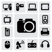 Vector black electronic devices icons set on gray