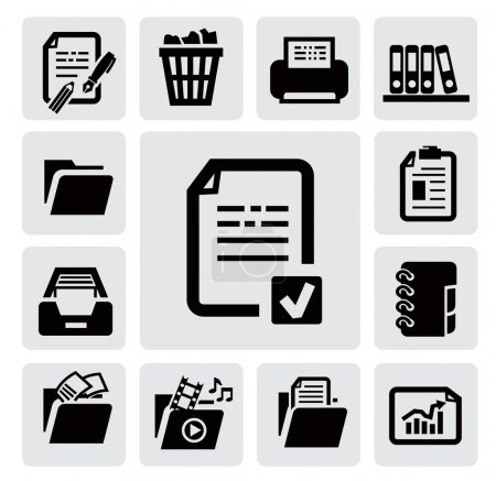 Illustration for Vector black document icons set on gray - Royalty Free Image