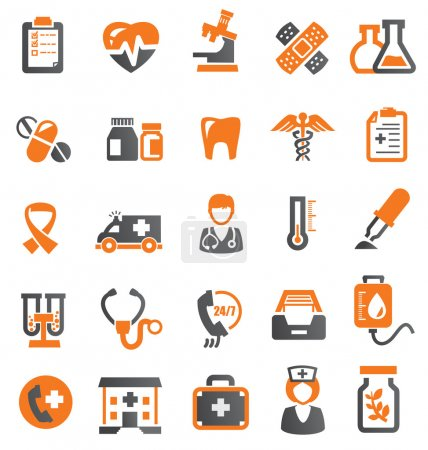 Illustration for Vector color medical icons set on white - Royalty Free Image