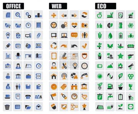 Illustration pour Ensemble d'icônes bureau, web et eco Vector noir - image libre de droit
