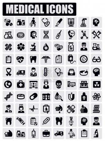 Illustration for Vector black medical icon set on gray - Royalty Free Image