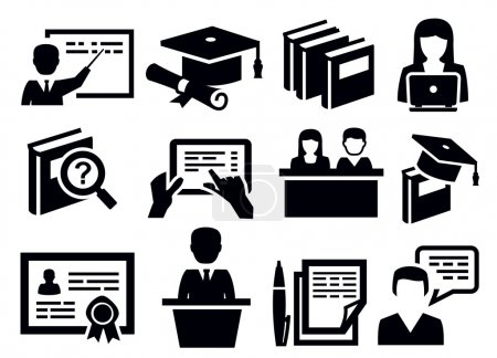 Illustration for Vector black education icons set on white - Royalty Free Image