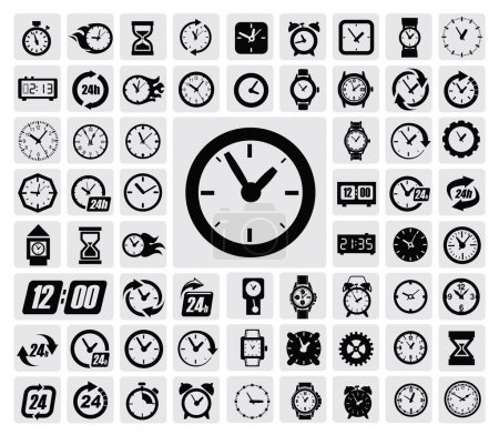 Illustration for Vector black clocks icon set on gray - Royalty Free Image