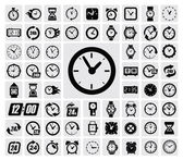 Vector black clocks icon set on gray