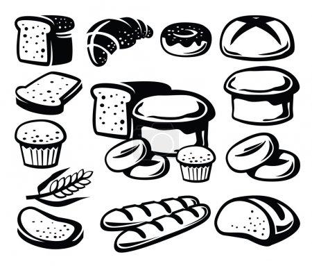 Illustration pour Icône de pain noir vectoriel sur blanc - image libre de droit