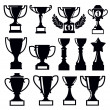 Vector black trophy and awards icons set...