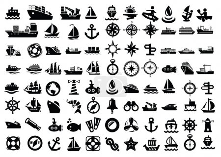 Illustration for Vector balack boat and ship icons set - Royalty Free Image