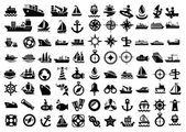 Vector balack boat and ship icons set