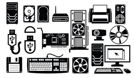 Illustration for Vector black computer hardware icon set on white - Royalty Free Image