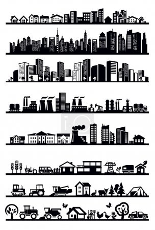 Vector black houses and city icons set on white...