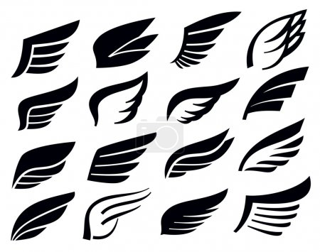Vector black wing icon set on white